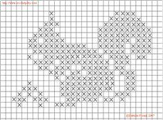 Baby Hats Knitting, Knitting Charts, Baby Knitting Patterns, Crochet Patterns, Fall Cross Stitch, Mini Cross Stitch, Cross Stitch Animals, Filet Crochet, Crochet Chart