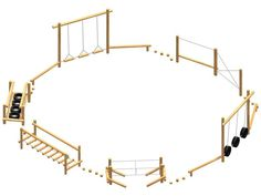 fun trail two. Natural Playground, Backyard Playground, Backyard For Kids, Backyard Ideas, Backyard Obstacle Course, Kids Obstacle Course, Outdoor Play Areas, Outdoor Gym, Kids Play Area