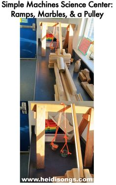 Simple machines science center #2:  Ramps, Marbles, & a Pulley.