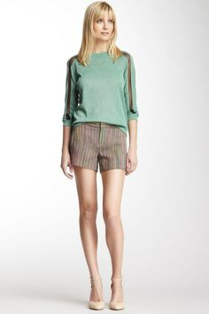 Charlotte Ronson Stripe Silk Blend Short by Non Specific on @HauteLook