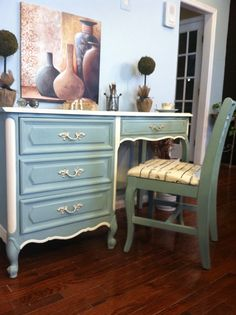Sold/Chic French Provincial Henry Link Desk/ Vanity by SaundersDesign,