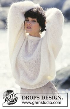 Janelle - DROPS jumper with wide sleeves in Vienna or Melody. - Free pattern by DROPS Design Sweater Knitting Patterns, Knitting Stitches, Knitting Yarn, Knit Patterns, Free Knitting, Drops Design, Budget Planer, Mohair Sweater, Knitted Blankets