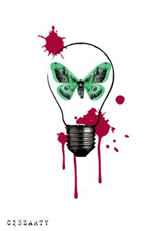 Tattoo project. The moth in a bulb with blots (2016)