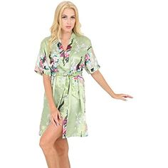 3b20f5f7c8b Chemise De Nuit Femme Eté Court Satin Fashion Élégant Kimono Mode Chic  Classique Décontracté Fleur Imprimé Vêtement De Nuit Manches Courtes V-Cou  avec ...