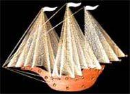 Three dimensional string art sailing ship.