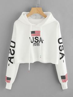 Drop Shoulder American Flag Print HoodieFor Women-romwe