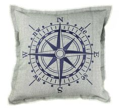 Nautical Compass Cushion - Coastal Decor, Beach Cover + Padding - THE NAUTICAL COMPANY