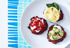Clinton Kelly Latkes-love the variations on toppings!!