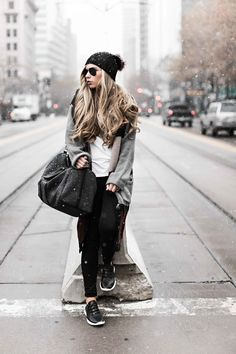 Blonde, blonde hair, beanie, wavy hair, finish line, under armour, travel bag, duffle bag, cardi, sweater, winter, snow pictures, street style, fashion, style, womens fashion