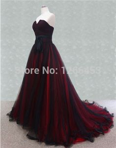 Color Wedding Dresses 2015 A Line Strapless Black and Red Tulle Sweep Train Gothic Bridal Gowns