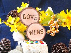 Love Wins Rustic Wedding Cake Topper / Wedding decorations/Cake topper / Love wins/ FREE SHIPPING - pinned by pin4etsy.com