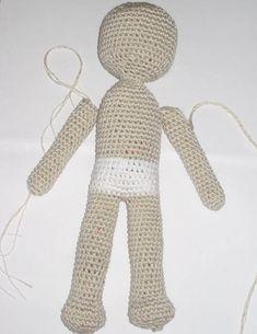 Crochet doll pattern Amigurumi doll in olive green dress