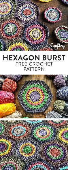 Hexagon Burst is a riff on the classic Starburst pattern, with half-motifs to fill in the edges, and a squared-off border. Crochet this beautiful beginner blanket for free at Craftsy! Granny Square Crochet Pattern, Crochet Borders, Crochet Hexagon Blanket, Diy Crochet, Crochet Stitches, Crochet Mandala Pattern, Crochet Blocks, Crochet Squares, Love Crochet