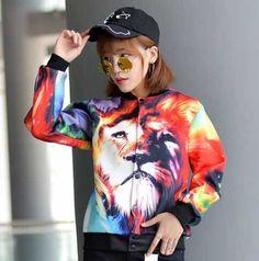 bf6871b529b1 Colorful lion baseball uniform for girls fashion animal sweatshirt