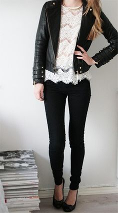 black leather over white lace shirt & black skinnies.