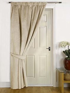Brisbane Natural Thermal DOOR Curtain  FAUX VELVET FABRIC- Reduces Heat Loss Prevents Draughts Saves Energy.