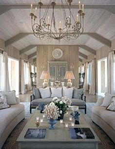 Relaxing rustic interior, raw woods, cream grey and blues, perfect match!