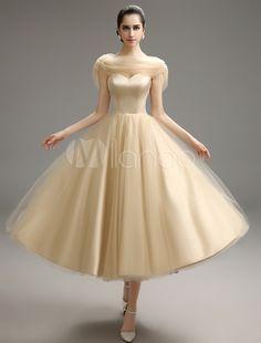 Wow! Vintage 1950s A-line Tea-Length Prom Dress with Beaded Satin