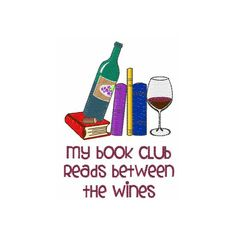 Book Club And Wine Machine Embroidery Design by ConcordCollections