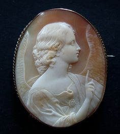 Huge Shell Cameo Annunciation Angel 9k Gold Brooch after Guido Reni