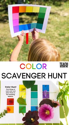 Color scavenger hunt with a printable color viewer and collection page. Use this color viewer to go on a color scavenger hunt with your kids! Tie in art, and science to learn all about the colors in nature. Nature Activities, Art Activities For Kids, Science Activities, Preschool Activities, Preschool Art Lessons, Art Lessons For Kids, Indoor Activities, Summer Activities, Family Activities