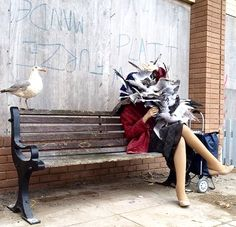 """""""Don't Feed the Birds"""" by Banksy at Dismaland, Somerset, UK, 8/15 (LP)"""