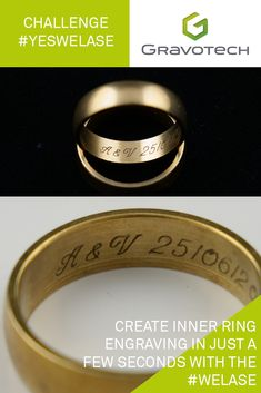 Create inner ring engraving in just a few seconds with Fiber . Wedding Ring Engraving, Engraved Wedding Rings, Wedding Jewelry, Fiber, Rings For Men, Challenge, Wedding Ideas, Engagement Rings, Jewellery