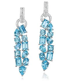 41e4c9406 CELLINI-Blue Topaz Drop Earrings Blue topaz stones in varying shapes, in a  doubled