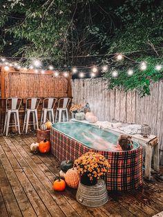 Hot Tub Garden, Hot Tub Backyard, Backyard Patio, Stock Pools, Stock Tank Pool, Round Stock Tank, Outdoor Tub, Outdoor Spaces, Diy Pool