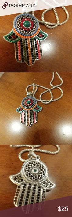 NEW Dainty necklace under 25 So beautiful and colorful, stainless steel from Toledo with crystal elements. Imported from Spain The hamsa is 2 inches long and 1,3 wide. Jewelry Necklaces
