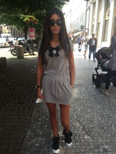 Joanna Modes posing on the street 2015