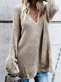 V-Neck Long Sleeve Sweater Loose Sweater, Sweater And Shorts, Sweater Hoodie, Pullover, Warm Sweaters, Long Sweaters, Sweaters For Women, Spring T Shirts, Long Overcoat