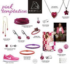 CRYSTALP Pink Temptations Allergy Free, Flower Pendant, Precious Metals, Swarovski, Fashion Jewelry, Jewellery, Crystals, Bracelets, Earrings