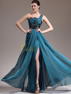 [US$179.00] Single Strap Lace Lined and Sequined Chiffon Column Prom Dress with Slit