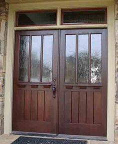 Custom craftsman style double entry door with transom.  This is almost what I want, almost