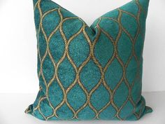 Iman Velvet Decorative Pillow 19X19-Both Sides-Designer Home Decor Fabric-Throw Pillow-Accent Pillow-Couch Pillow-Teal Blue-Gold. $45.00, via Etsy.