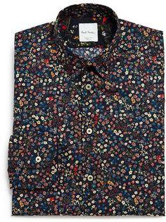 Medium Blue Eidos Men/'s Box-Plaid Slim-Fit Dress Shirt Size S /& M