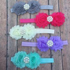 Flower Headband Collection - Shabby flower headband - Elastic headband - Choose one - Baby girl headbands - Shabby Flower headbands - Flower by BBgiftsandmore on Etsy