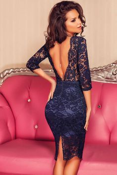 Elegant Navy Blue Lace Padded Bust V Back Party Dress