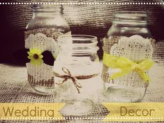 DIY Wedding Centerpieces made out of mason jars, burlap, lace, paper doilies, ribbon, and twine. So easy...and so cute!