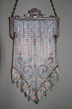 ~Whiting & Davis~Art Deco Enamel Mesh Purse~Circa 1920s~