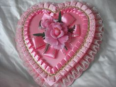 Vintage Valentine Candy Box-Pink with Flower
