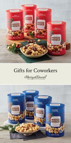 Share the gift of premium popcorn with your coworkers this season! With four identical gifts in one package, this Moose Munch gift makes it easy to show everyone how much you care. Christmas Gift Baskets, Christmas Gifts, Moose Munch, Harry And David, Gifts For Coworkers, Fresh Fruit, Popcorn, Dog Food Recipes, Caramel