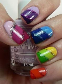 Striped Rainbow Nail Art Design