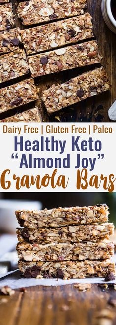 Sugar Free Keto Almond Joy Granola Bars - This low carb granola bars recipe is o., Food And Drinks, Sugar Free Keto Almond Joy Granola Bars - This low carb granola bars recipe is only 7 simple ingredients and tastes like an Almond Joy! Kids or adults. Keto Friendly Desserts, Low Carb Desserts, Low Carb Recipes, Dessert Recipes, Dessert Ideas, Fruit Recipes, Cookie Recipes, Low Carb Sweets, Tuna Recipes