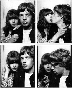 Chrissie Shrimpton and Mick Jagger - photobooth photos.