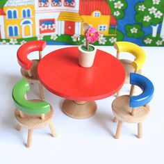 Image of Vintage Wooden Miniature Table, Chairs & Flower