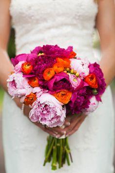 magenta, orange and light pink wedding bouquet http://www.weddingchicks.com/2014/01/02/horse-racing-wedding/