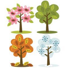 Four Season Trees SVG files for scrapbooking fall tree svg spring tree svg winte. Four Season Tree Summer Trees, Spring Tree, Winter Trees, Tree Clipart, Tree Svg, Tree Silhouette, Silhouette Design, Bullet Journal Art, Landscape Quilts
