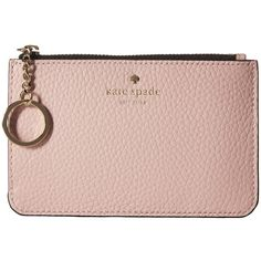 Kate Spade New York Cobble Hill Large Card Holder (Pink Multi) Credit... ($88) ❤ liked on Polyvore featuring bags, wallets, woven wallet, zip top bag, color block bags, key ring wallet and kate spade